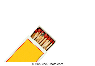 Box of matches isolated on white background, with clipping path.