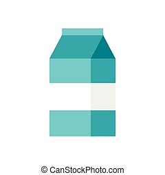 Box of milk icon in flat style