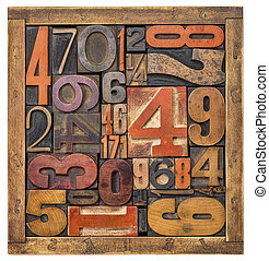box of numbers -wood type abstract