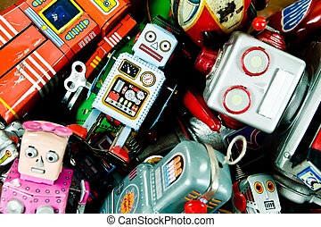 box of old tin toys