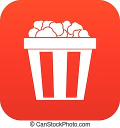 Box of popcorn icon digital red