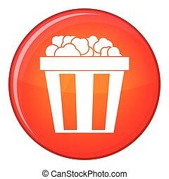 Box of popcorn icon, flat style