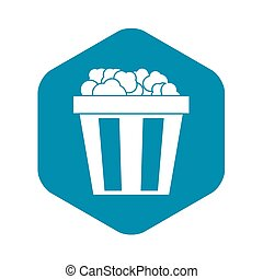Box of popcorn icon, simple style