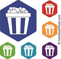Box of popcorn icons set