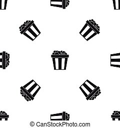 Box of popcorn pattern seamless black