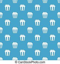 Box of popcorn pattern seamless blue