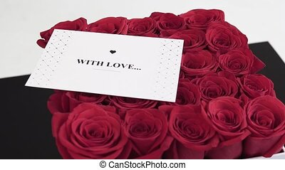 Box of Red Roses with Gift Card - Box of red roses with...