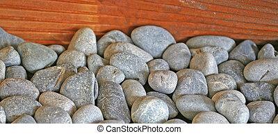 Box of rocks - a box of river rock