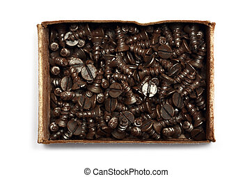 box of screws on a white background