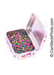 Box of sewing pins in metall box isolated on white. Object with clipping path