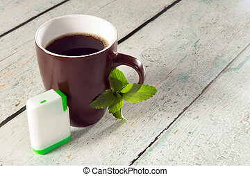Box of stevia tablets and coffee - Little white box of...