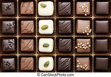 Handmade luxury chocolate in a box - shot in studio