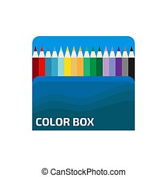 Box of wooden color pencils on white background. Flat vector illustration.