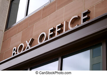 Box Office - An angled view of an outdoor art deco copper...