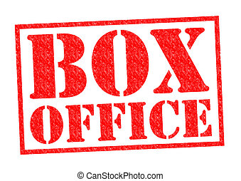 BOX OFFICE red Rubber Stamp over a white background.