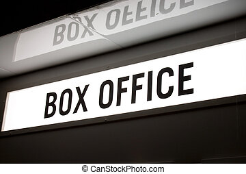 Box office sign - An illuminated box office sign with...