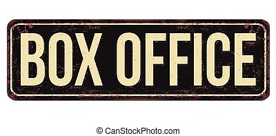 Box office vintage rusty metal sign