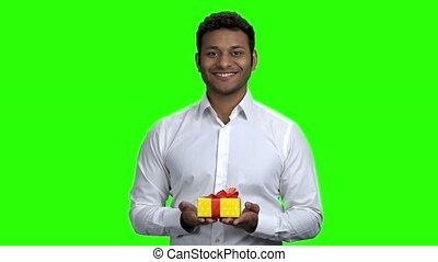 box., offrande, cadeau, réussi, indien, homme affaires