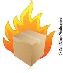 box on fire illustration design