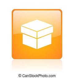 box orange square glossy web icon