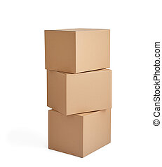 box package delivery cardboard carton stack - close up of a...