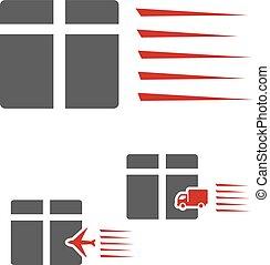 box., paquet, symbole, signe, livraison, taux, vecteur, camion, avion, vitesse, transport, icône