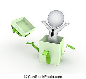 box., persoon, cadeau, 3d, kleine