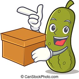 Box pickle character cartoon style