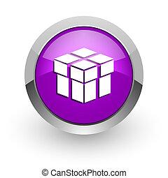 box pink glossy web icon