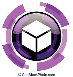 Box pink violet modern design vector web and smartphone icon. Round button in eps 10 isolated on white background.