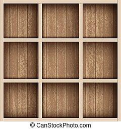 box., planken, houten, werktuig, boekenplank, magazijn, of, lege