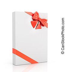 box, poklona, grafické pozadí., červeň, balený, běloba lem