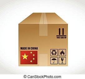 box., porcelaine, expédition, illustration, fait