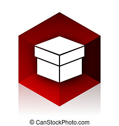 box red cube 3d modern design icon on white background