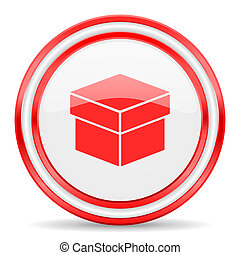 box red white glossy web icon