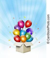 box., regalo, palloni coloriti, vettore, fondo, vacanza,...