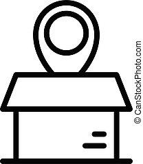 Box relocation icon, outline style - Box relocation icon. ...