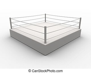 Box Ring - 3D Illustration. Isolated on white.