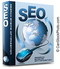 Box SEO - Search Engine Optimization - Box with globe, mouse...