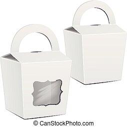 box., set, package., mockup, cibo, digiuno, gift., imballaggio, torta, vettore, sagoma, portare, bianco, cartone