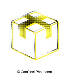 Box sign illustration. Vector. Yellow icon with square pattern d