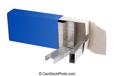 box stack of metal staples