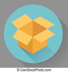 box., stile, icona, cartone, vuoto, aperto, appartamento