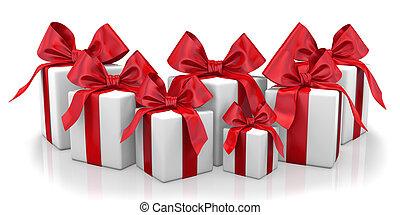 box - christmas box red 3d render