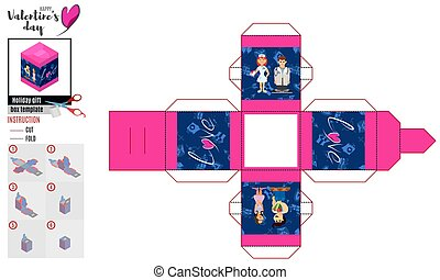 box template for valentines day with lovers
