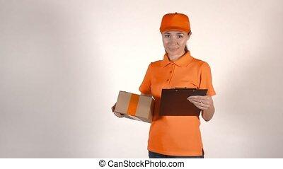 box., tenue, courrier, coup, isolé, uniforme, studio, 4k, femme, orange, carton