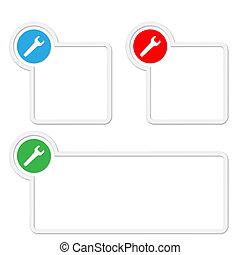box, text, francouzský klíč, dát, tři