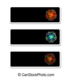 box, text, květ, tři