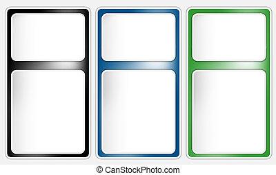 box, text, vektor, tři