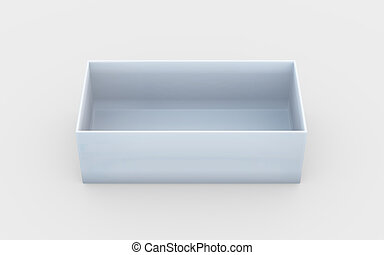 box tray high angle - white cardboard material of rectangle...